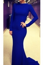 Blue Elegant Long Sleeves Sexy Ladies Cross Backless Maxi Dress
