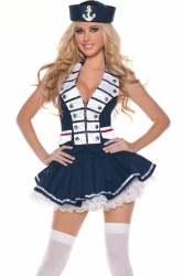 Navy Blue Halloween Womens Sexy Classic Sailor Costume
