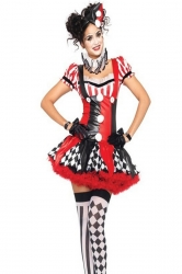 Red Cool Ladies Halloween Masquerade Poker Circus Costume