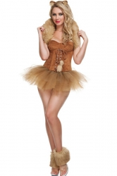Khaki Pretty Womens Sexy Wizard of Oz Halloween Cat Costume