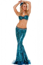 Blue Sexy Ladies Halloween Sequin Mermaid Costume
