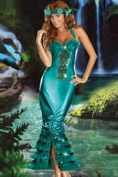 Green Cool Ladies Halloween Sea Siren Mermaid Costume