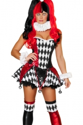 Womens Sexy Halloween Harley Quinn Jester Circus Costume Black