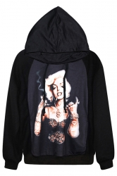 Black Chic Pullover Marilyn Monroe Printed Halloween Hoodie