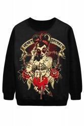 Black Chic Ladies Heart Breaker Printed Jumper Halloween Sweatshirt