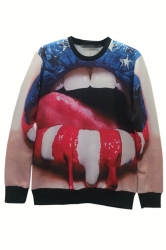 Red Cool Ladies Mouth Printed US Flag Pullover Halloween Sweatshirt