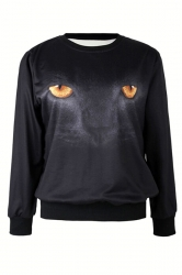 Black Cool Ladies Cat Eye Printed Pullover Halloween Sweatshirt