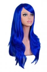 Blue Fashion Cosplay Ladies Sexy Long Waves Hair Wig