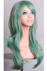 Green Fashion Cosplay Ladies Sexy Long Waves Hair Wig