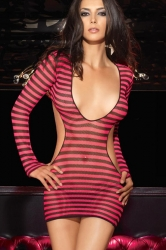 Red Attractive Ladies Stripe Lingerie Cut Out Sheer Babydoll