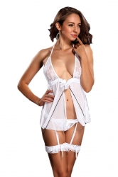 White Womens Slutty Lingerie Lace Sexy Bustier and Garter