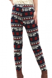 Red Womens Christmas Lined Elk Snowflake Sweater Leggings