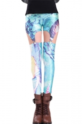 Blue Stylish Womens Cheshire Cat Printed Suspender Leggings
