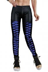 Blue Cool Ladies Mesh Patchwork Argyle Leather Leggings