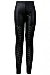 Black Cool Ladies Mesh Patchwork Argyle Leather Leggings