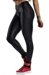 Black Elegant Ladies Plain Fit Liquid Leggings