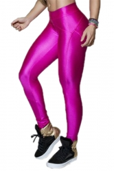 Pink Elegant Ladies Plain Fit Liquid Leggings