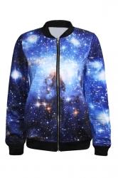 Blue Pretty Womens Crew Neck Galaxy Printed Jacket