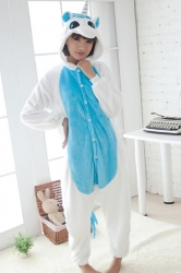 Blue Cute Ladies Unicorn Adult Flannel Pajamas Jumpsuit Costume