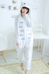 Gray Cute Pajamas Comfortable Flannel Totoro Jumpsuit Costume