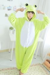 Green Cute Ladies Flannel Pajamas Comfortable Frog Jumpsuit Costume