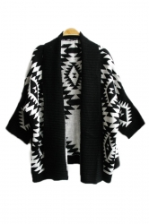 Black Elegant Ladies Long Sleeve Aztec Cardigan Sweater Coat