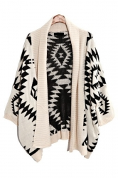 Beige Elegant Ladies Long Sleeve Aztec Cardigan Sweater Coat