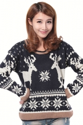 Black Cool Womens Deer Pattern Crew Neck Pullover Christmas Sweater