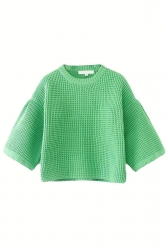 Green Cute Ladies Lantern Sleeve Crew Neck Plain Pullover