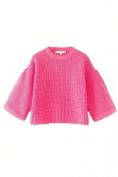 Rose Red Cute Ladies Lantern Sleeve Crew Neck Plain Pullover
