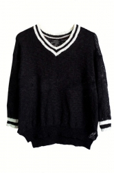 Black V Neck Womens Loose Vintage Patterned Pullover Sweater