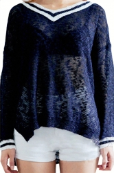 Navy Blue V Neck Womens Loose Vintage Patterned Pullover Sweater