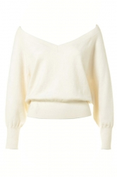 White Off the Shoulder Sexy Ladies Warm V Neck Plain Pullover Sweater