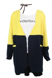 Yellow Pretty Ladies Cardigan Color Black Long Sleeve Sweater Coat