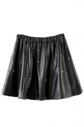 Black Rivet Ruffle Ladies Sexy Leather Fashion Skirt