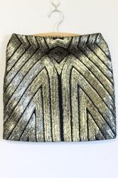 Gold Womens Sexy Sequins Slim Geometric Pattern Mini Skirt
