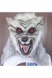 White Scary Wolf Latex Halloween Mask