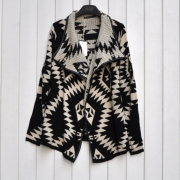 Black Ladies Chic Loose Geometric Rhombus Wool Coat