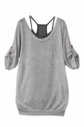 Gray Womens Sexy Vest and Pleated Short Sleeves T Shirt