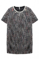 Gray Ladies Chic Pearl Necklace Decorated Shift Dress