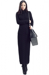 Black Elegant Womens Turtleneck Long Sleeve Plain Sweater Dress