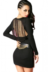 Black Cool Womens Knitting Long Sleeve Fringe Backless Sweater Dress