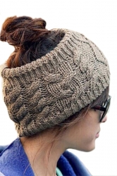 Khaki Ladies Beanie Fashion Headband Knitted Hat