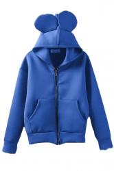 Blue Womens Cute  Zipper Hoodie Long Sleeves Coat