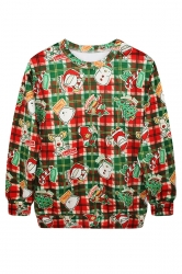Womens Ugly Christmas Santa Printed Crew Neck Pullover Sweatshirt