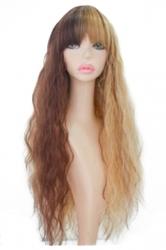 Khaki Fashion Womens Hot Corn Curly Gradient Long Hair