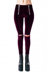 Ruby Pretty Womens Ripped Zip Skinny Velvet Leggings