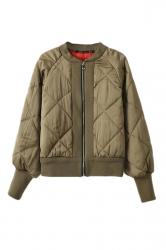 Khaki Womens Zipper Cool Quilted Bomber Warm Jacket