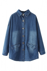 Navy Blue Cool Ladies Denim Loose Plain Long Sleeves Trench Coat