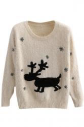 Beige Elegant Ladies Elk Pullover Christmas Sweater